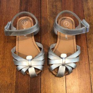 Toddler girls silver sandals